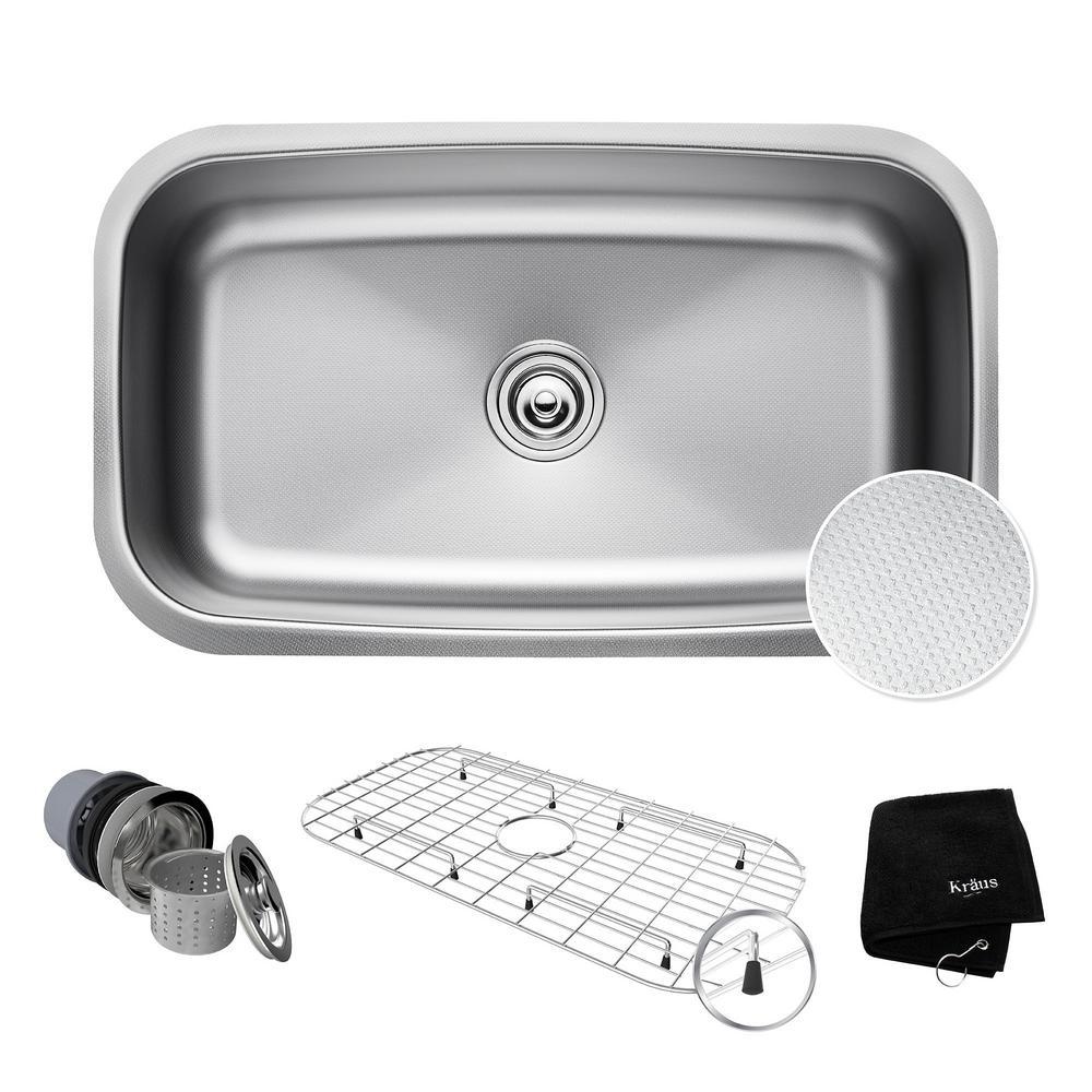 Outlast Microshield Undermount 32 in. Single Bowl Kitchen Sink Kit