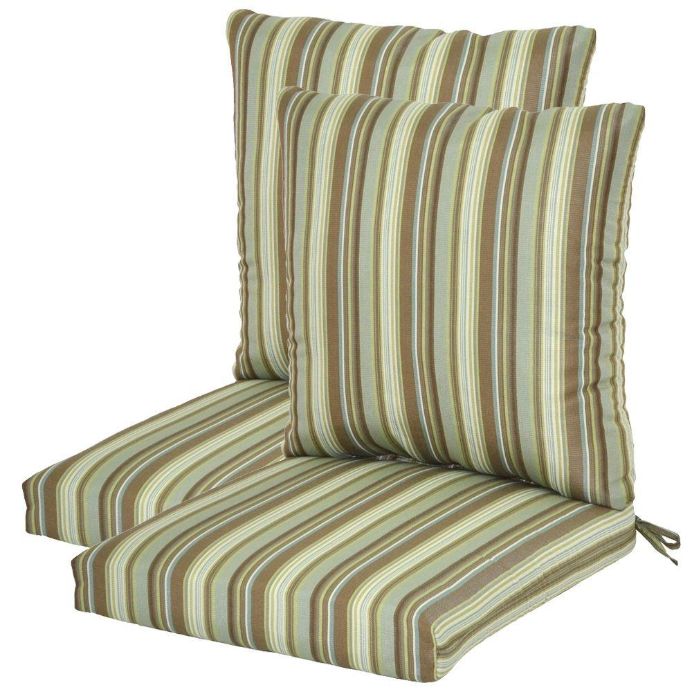 Plantation Patterns Spa Stripe Textured Pillow Back Outdoor Deep Seating Cushion-DISCONTINUED