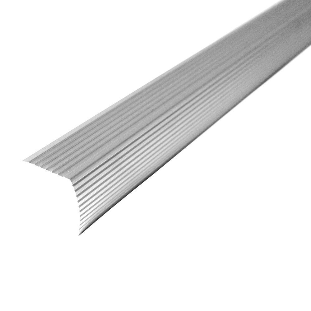 Cinch 1.22 in. x 36 in. Satin Silver Fluted Stair Edging