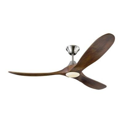 Maverick LED 60 in. Integrated LED Indoor/Outdoor Brushed Steel Ceiling Fan with Dark Walnut Blades with Remote Control