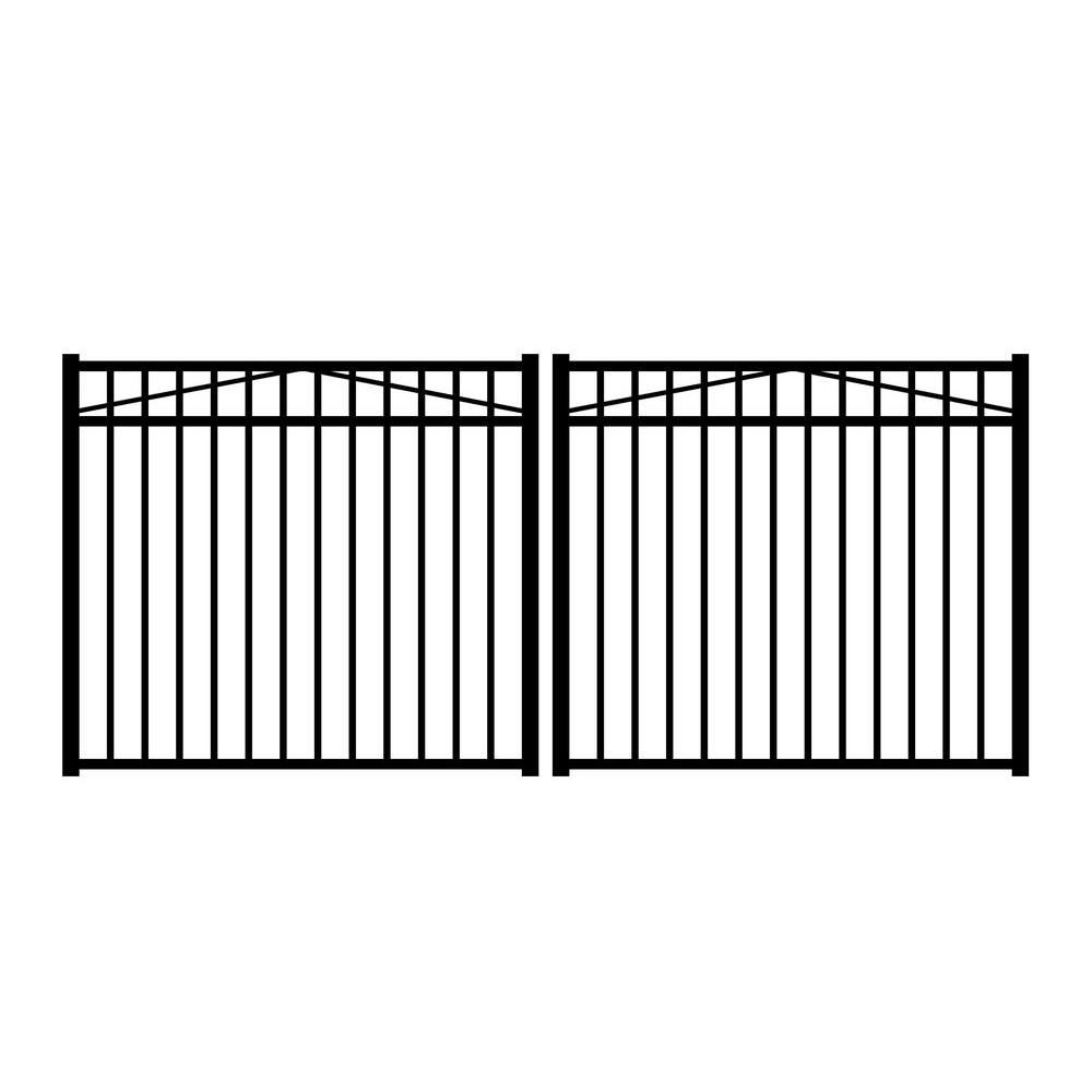 Jerith Jefferson 10 ft. W x 4.5 ft. H Black Aluminum 3-Rail Double Drive Fence Gate