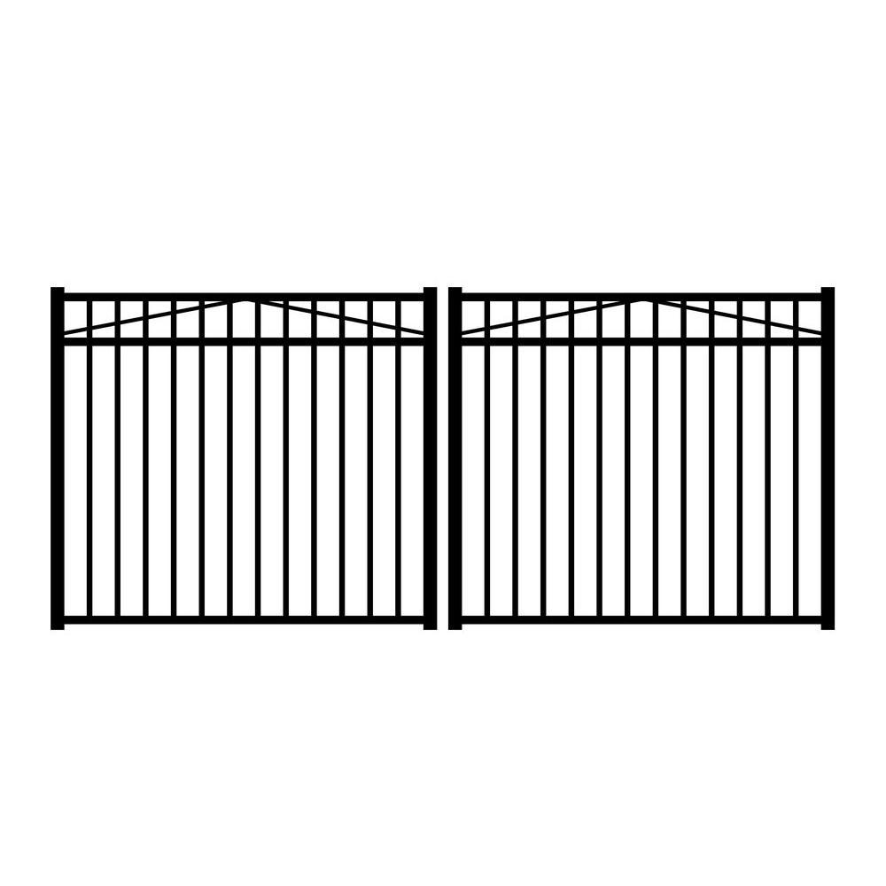 Jefferson 10 ft. W x 4.5 ft. H Black Aluminum 3-Rail Double Drive Fence Gate