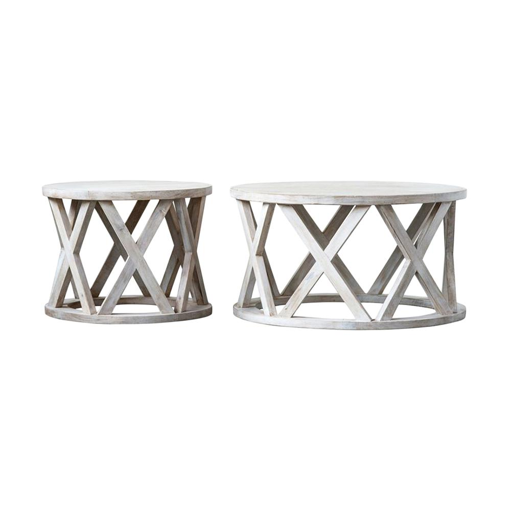 3r Studios Waterside White Round Bleached Mango Wood Side Tables Set Of 2