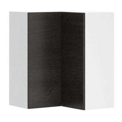 Leeds Ready to Assemble 24 x 30 x 24 in. Corner Wall Cabinet in White Melamine and Door in Steel