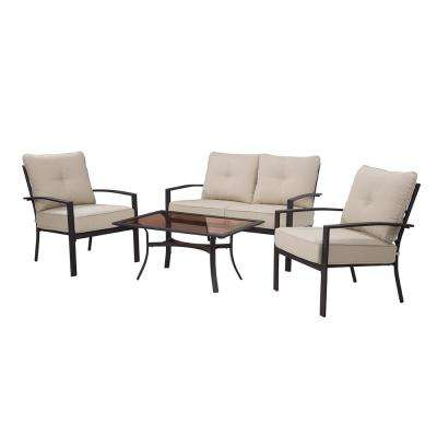 Briarwood 4-Piece Metal Patio Sectional Seating Set with Tan Cushions