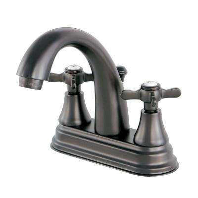 English Cross 4 in. Centerset 2-Handle High-Arc Bathroom Faucet in Oil Rubbed Bronze