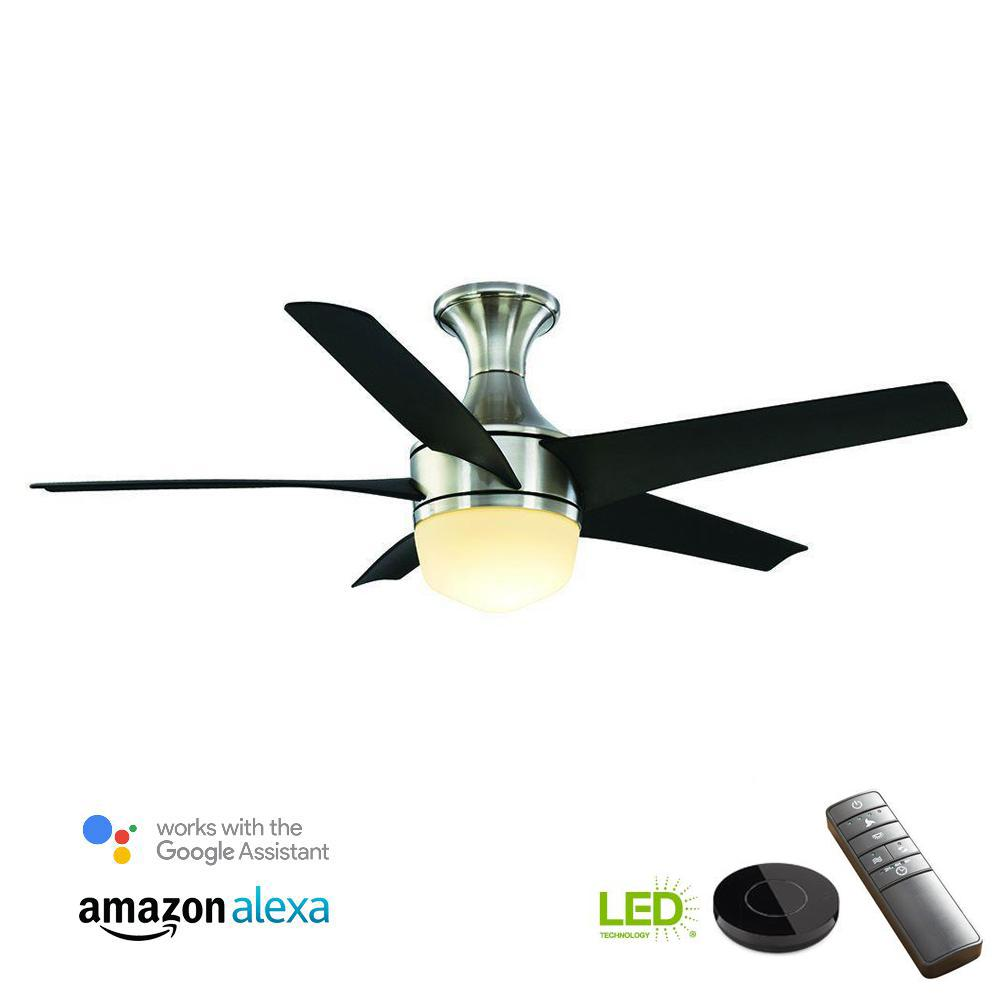 Home Decorators Collection Tuxford 44 in. LED Brushed Nickel Ceiling Fan with Light Kit works with Google Assistant and Alexa