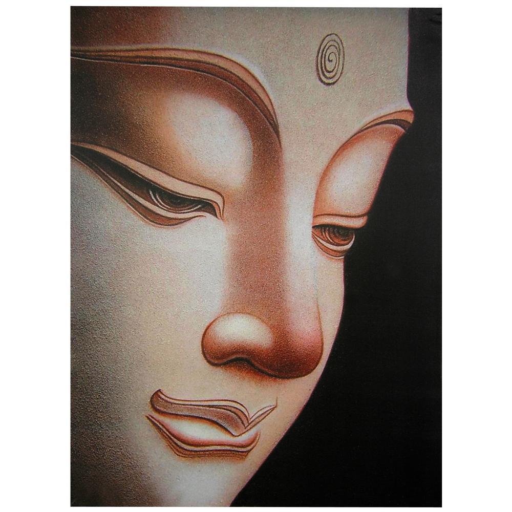 "Oriental Furniture 32 in. x 24 in. ""Buddha"" Canvas Wall Art"