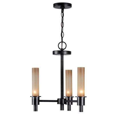Dunwoody 3-Light Oil-Rubbed Bronze Chandelier with Tea Stained Glass Shades