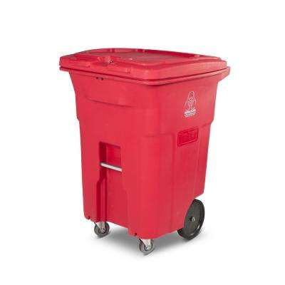96 Gal. Red Hazardous Waste Trash Can with Wheels and Lid Lock (2 Caster Wheels 2 Stationary Wheels)