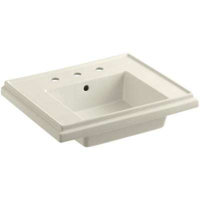 Fireclay Pedestal Sink Basin In Biscuit With Overflow Drain