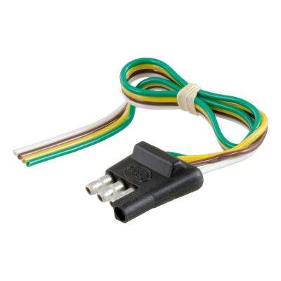 """4-Way Flat Connector Plug with 12"""" Wires (Trailer Side)"""