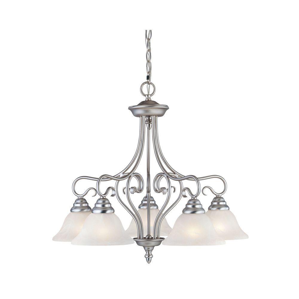 Livex Lighting 5-Light Brushed Nickel Chandelier with White Alabaster Glass