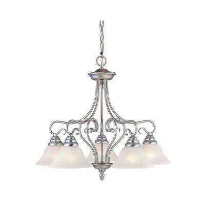 5-Light Brushed Nickel Chandelier with White Alabaster Glass