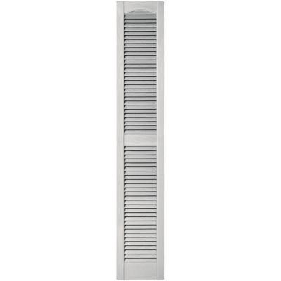 12 in. x 67 in. Louvered Vinyl Exterior Shutters Pair in #030 Paintable