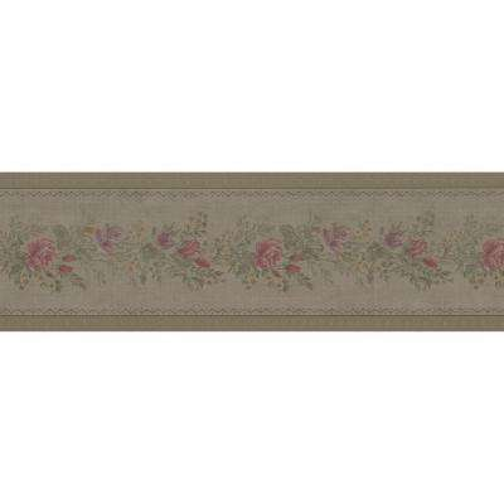 Alexa Olive Floral Meadow Wallpaper Border Sample