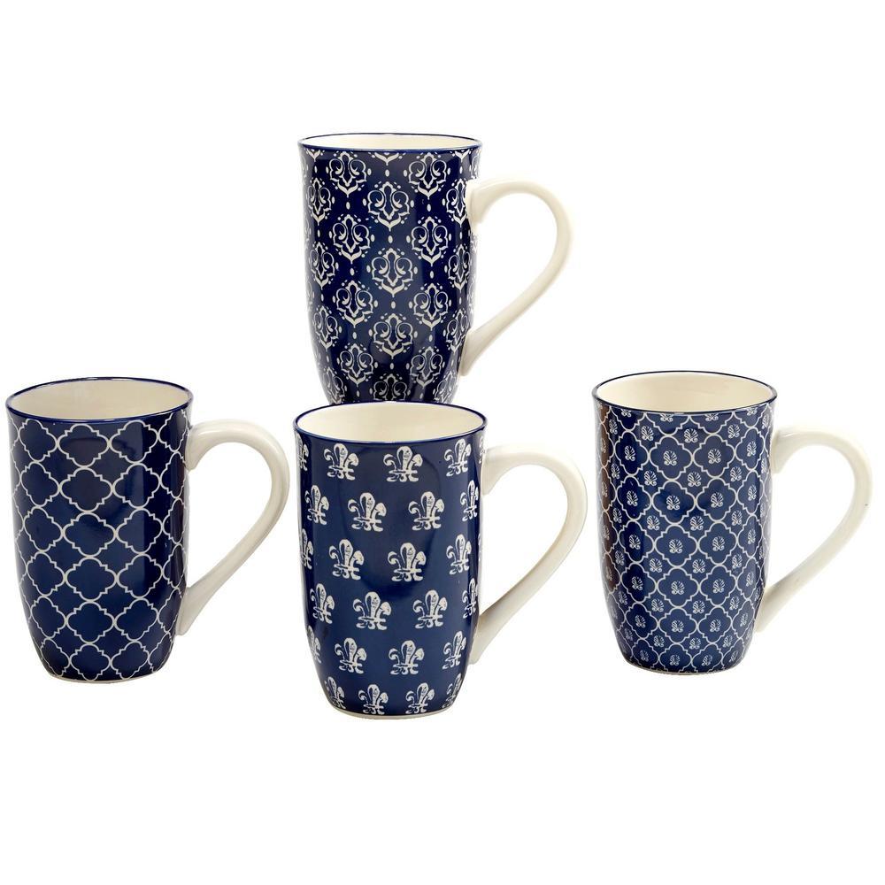 Blue Indigo 20 oz. Blue Ceramic Latte Mugs (Set of 4)