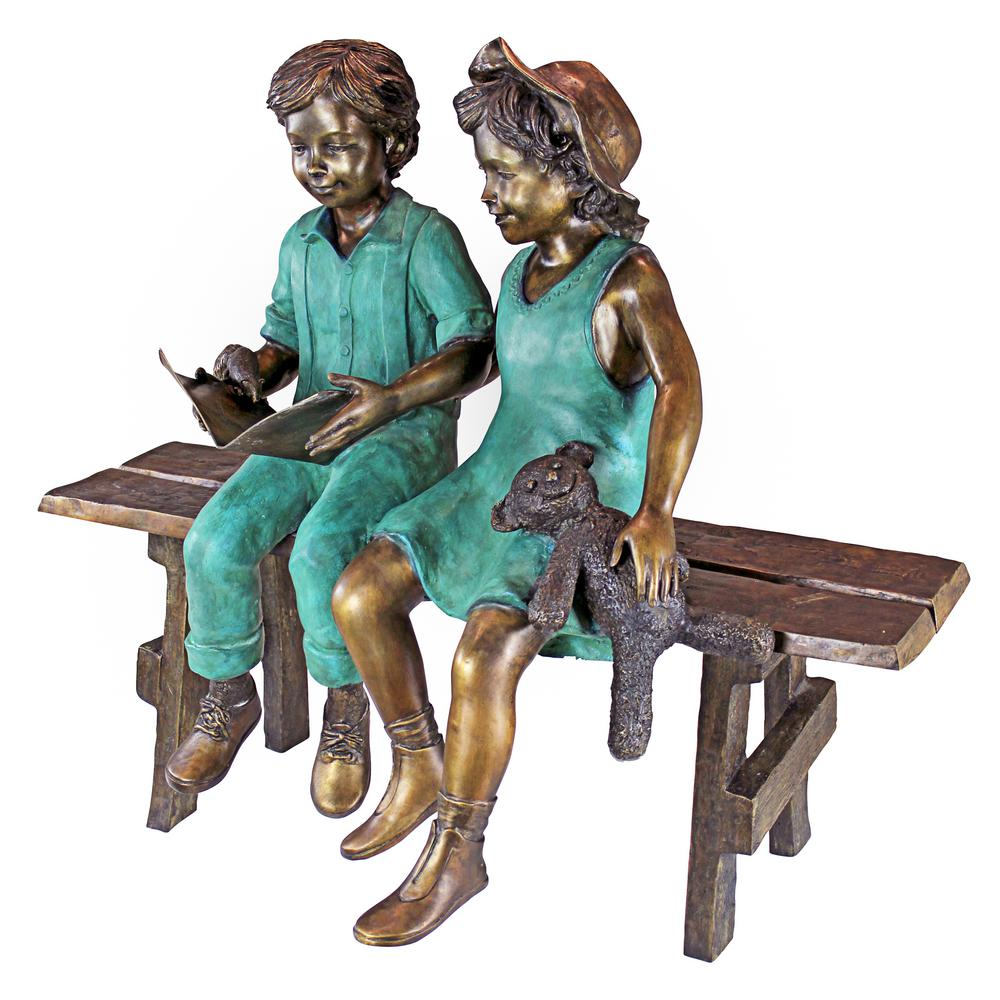 Admirable Design Toscano 38 In H Read To Me Boy And Girl On Bench Cast Bronze Garden Statue Theyellowbook Wood Chair Design Ideas Theyellowbookinfo