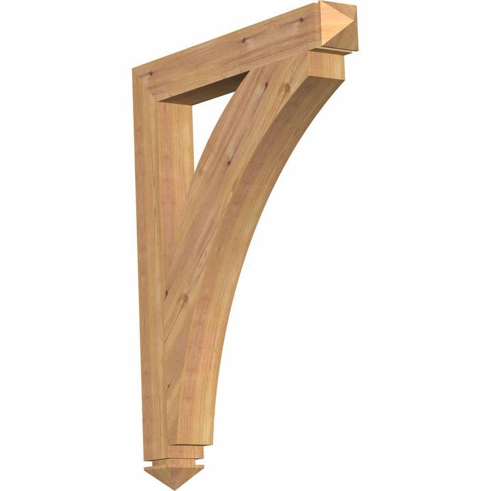 Ekena Millwork 3.5 in. x 36 in. x 28 in. Western Red Cedar Thorton Arts and Crafts Smooth Bracket