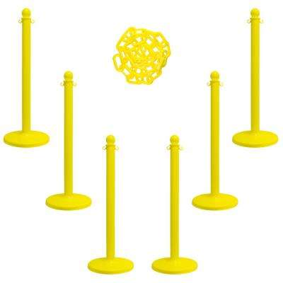 Medium Duty Stanchion and Chain Kit in Yellow