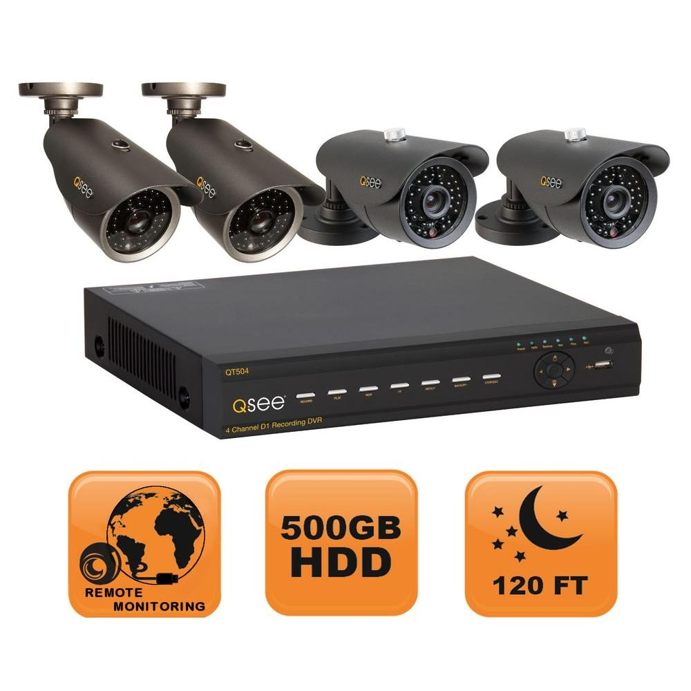 Q-SEE Premium Series 4 CH 500GB Hard Drive D1 Surveillance System with Four 600 TVL Cameras-DISCONTINUED