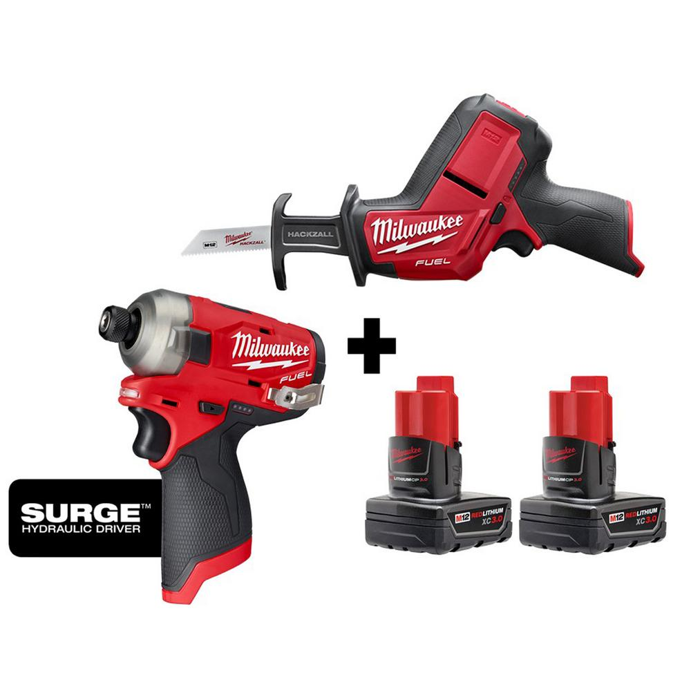 Milwaukee M12 FUEL SURGE 12v Lithium-Ion Brushless Cordless 1/4 inch Impact Driver & HACKZALL W/ (2) 3.0 Ah Batteries