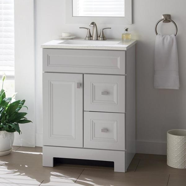 Home Decorators Collection Sedgewood 24 1 2 In Bath Vanity In Dove Gray With Solid Surface Technology Vanity Top In Arctic With White Sink Pplnkdvr24d The Home Depot