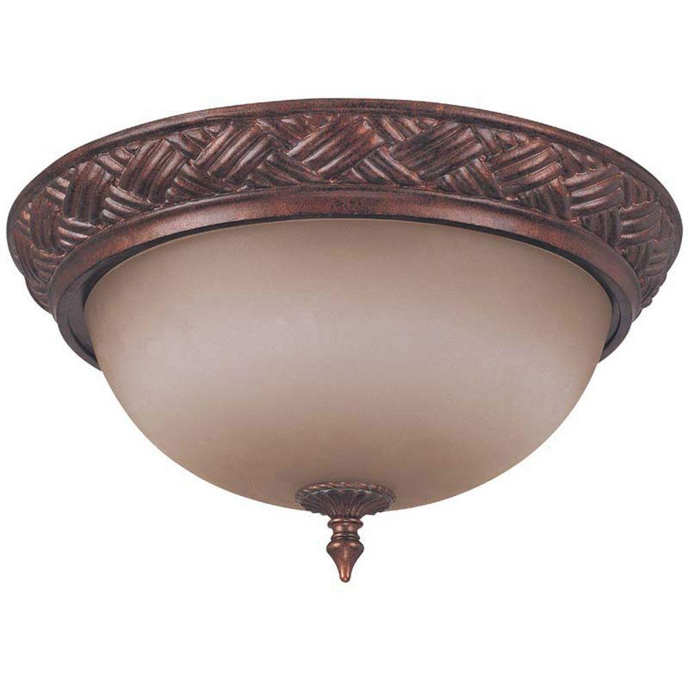 Glomar Wesley Dark Plum Bronze 3-Light 16 in. Flush Dome with Amber Bisque Glass-DISCONTINUED