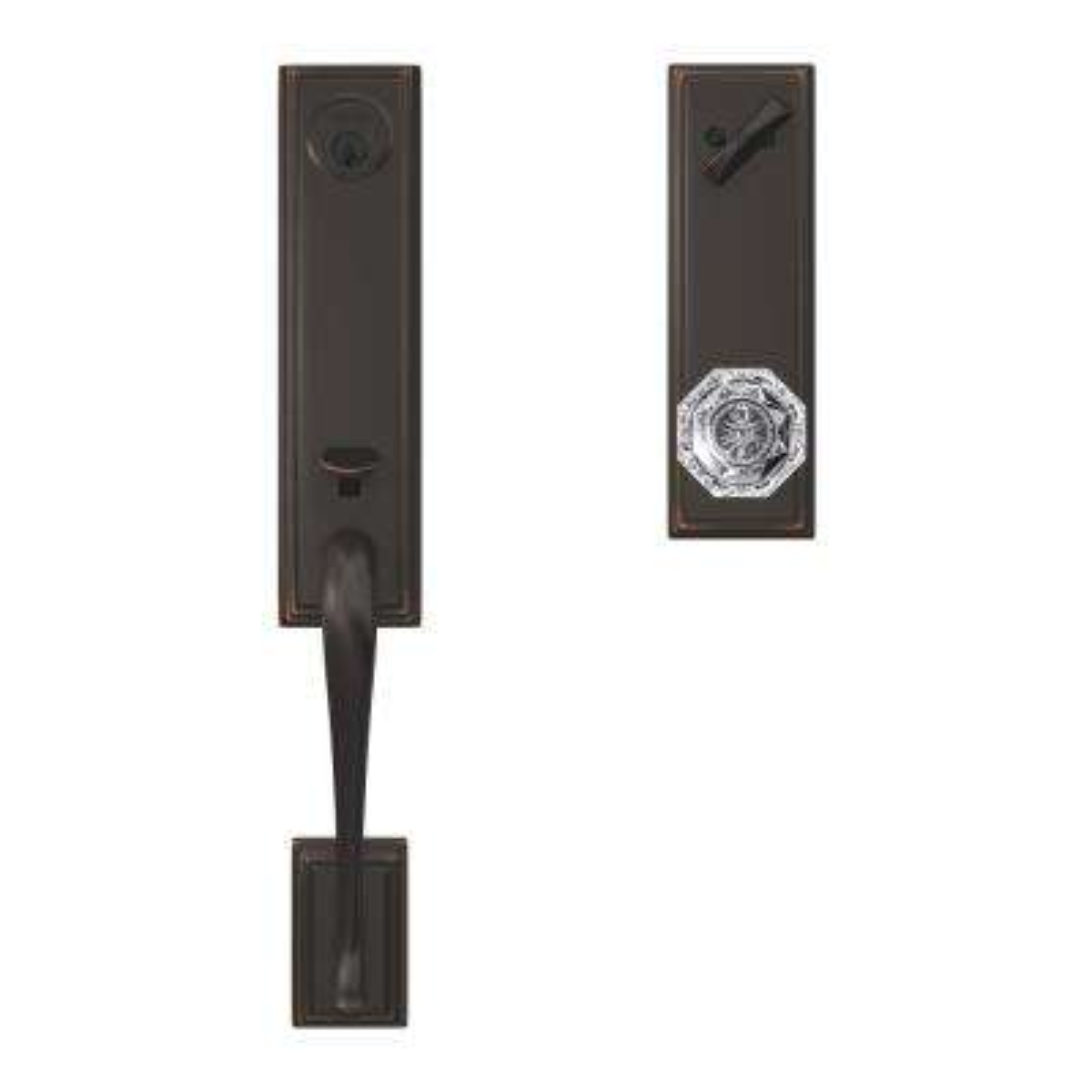 Custom Addison Aged Bronze 3/4 Trim Single Cylinder Door Handleset with Alexandria Glass Door Knob