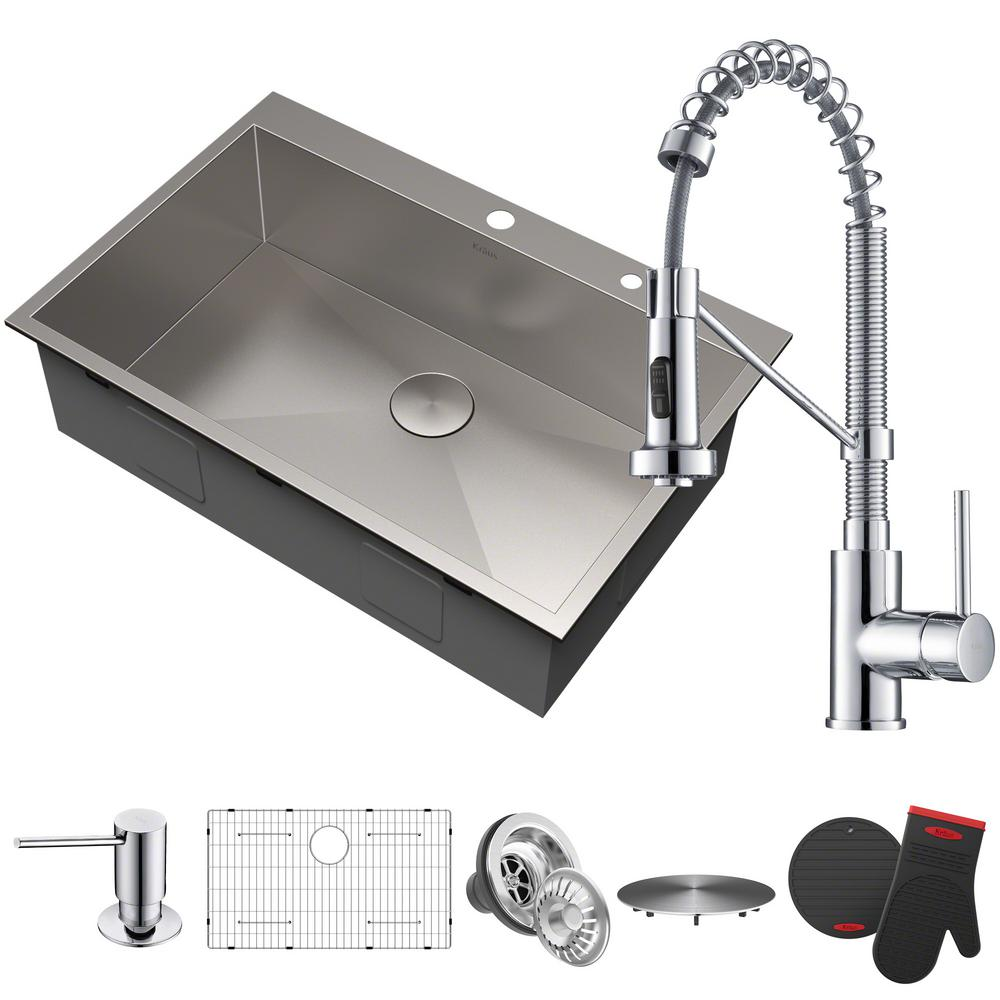 All-in-One Drop-In Stainless Steel 33 in. 2-Hole Single Bowl Kitchen Sink