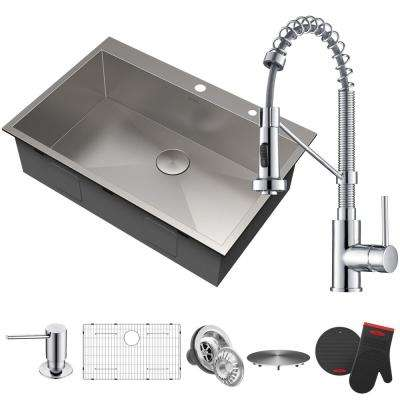 Chrome Kitchen Sink Chrome kitchen sinks kitchen the home depot all in one drop in stainless steel 33 in 2 hole workwithnaturefo