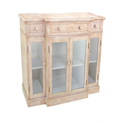 Beige and Clear 4-Door Wood and Glass Storage Cabinet with 3-Drawers