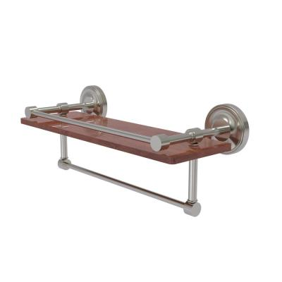 Prestige Regal Collection 16 in. IPE Ironwood Shelf with Gallery Rail and Towel Bar in Satin Nickel