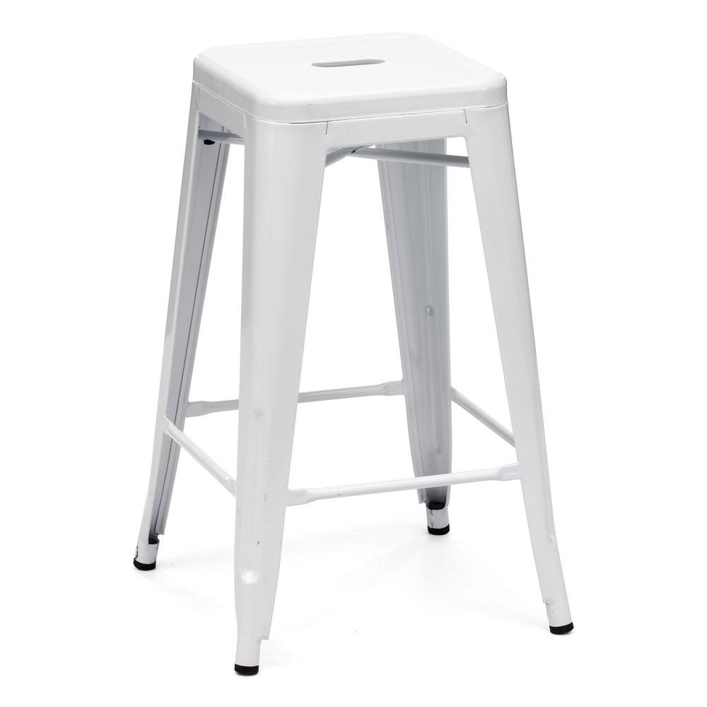 ZUO Marius White Counter Stool (Set of 2)-DISCONTINUED