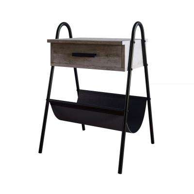 Hugo 25 in. Antique Dry Gray Oak Night Stand Accent Table Metal Frame with Drawer and Leather Hammock