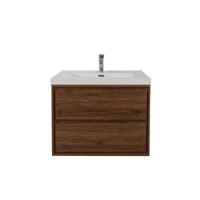 Sage 24 in. W Vanity in Rosewood with Reinforced Acrylic Vanity Top in White with White Basin
