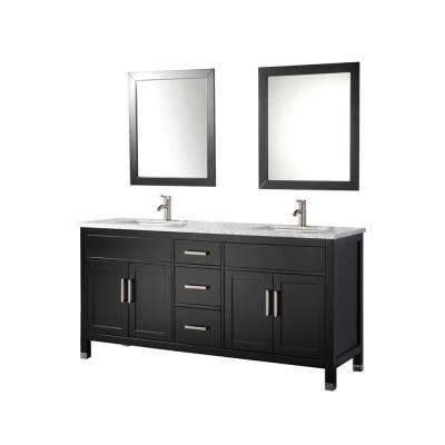 Ricca 72 in. W x 22 in. D x 36 in. H Vanity in Espresso with Marble Vanity Top in White with White Basins and Mirrors