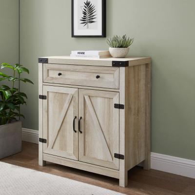 30 in. White Oak Farmhouse Barn Door Accent Cabinet