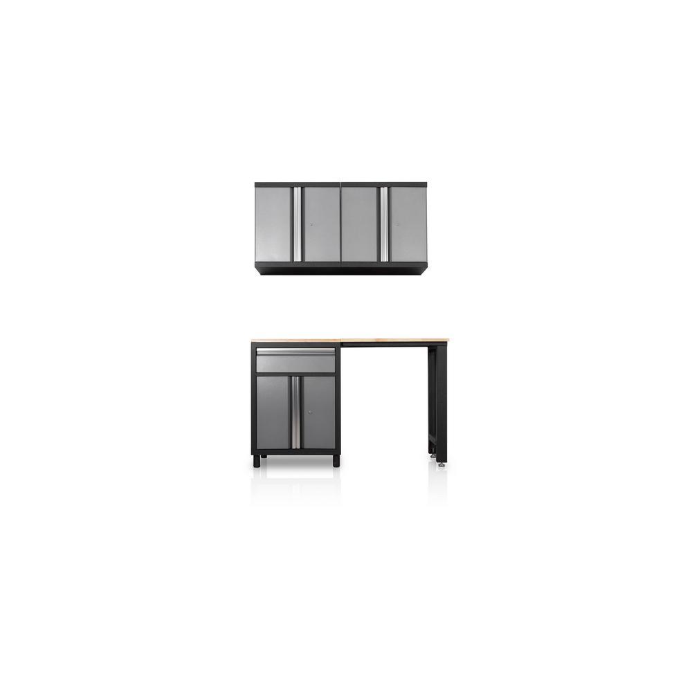 DuraCabinet Pro Series III 81.1 in. H x 59.5 in. W x 18 in. D 23/24-Gauge Steel Wood Worktop Cabinet Set in Gray (4-Piece)