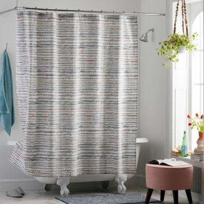 Trackside 72 in. Multi Organic Cotton Percale Shower Curtain