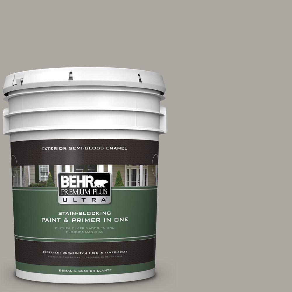 5 gal. #PPU24-10 Downtown Gray Semi-Gloss Enamel Exterior Paint