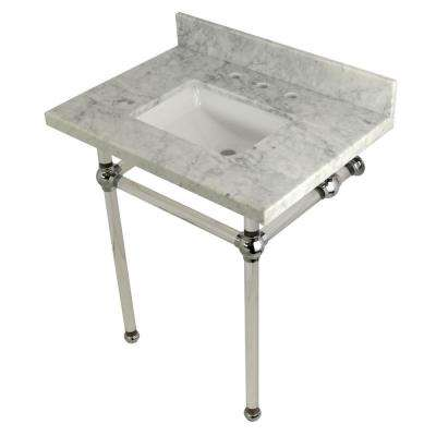 Square Sink Washstand 30 in. Console Table in Carrara Marble with Acrylic Legs in Polished Chrome