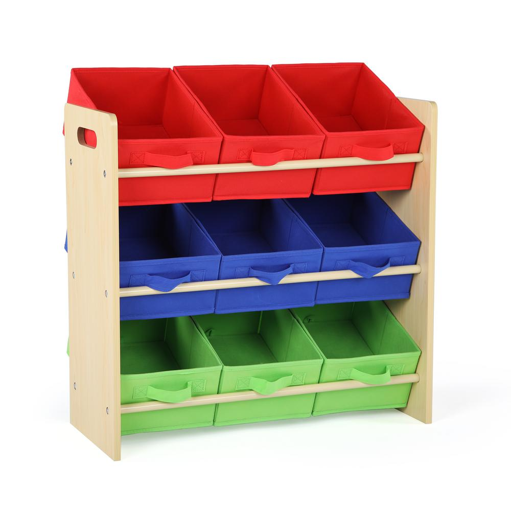 Beau Tot Tutors Primary Collection Natural/Primary Kids Storage Toy Organizer  With 9 Fabric Bins