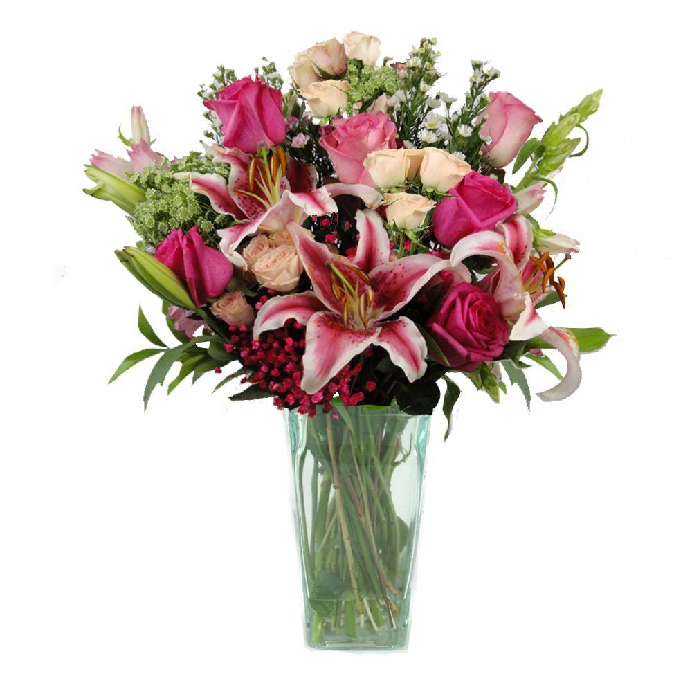The Ultimate Bouquet Gorgeous Fresh Cut Pink, Lavender and White Grand Bouquet in a Clear Vase, Overnight Shipping Included-DISCONTINUED