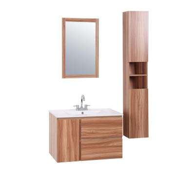 Hanna 30 in. W x 18 in. D Floating Vanity in Light Walnut with Vitreous China Vanity Top in White and Mirror