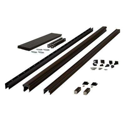 Symmetry 8 ft. Simply Brown Capped Composite Stair Rail Section with 36 in. Aluminum Balusters