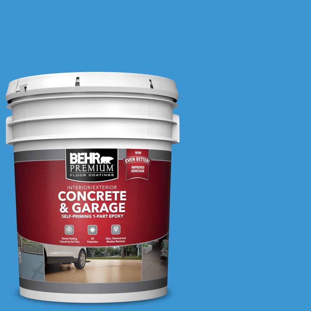 BEHR PREMIUM 5 gal. #P510-5 Perfect Sky Self-Priming 1-Part Epoxy Satin Interior/Exterior Concrete and Garage Floor Paint