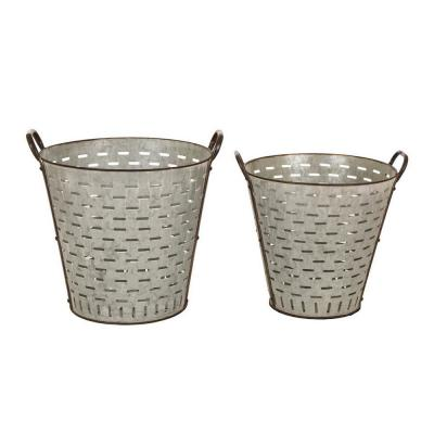 Farmhouse Galvanized Metal Planter (Set of 2)