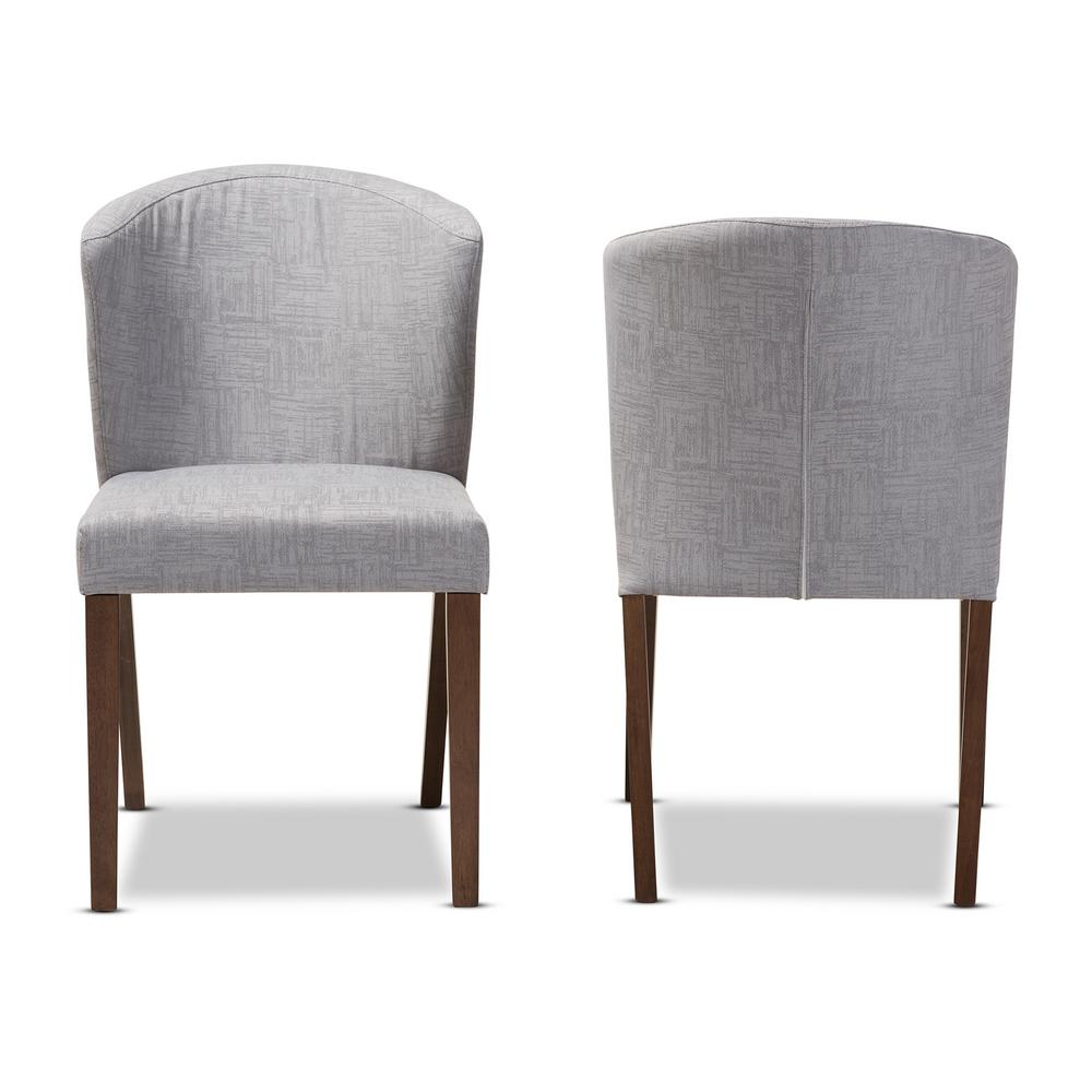 Cassie Light Grey/Walnut Brown Fabric Dining Chair (Set of 2)