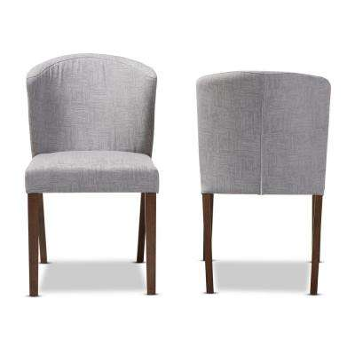 Cie Light Grey Walnut Brown Fabric Dining Chair